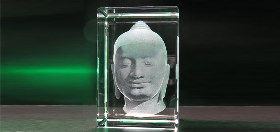 Presse-papier en verre 3D-Bouddha