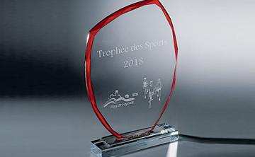 Récompense sportive en verre gravé