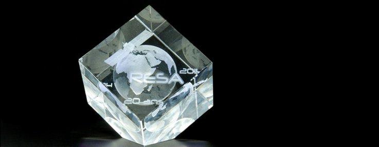 Cube en verre gravure 3D