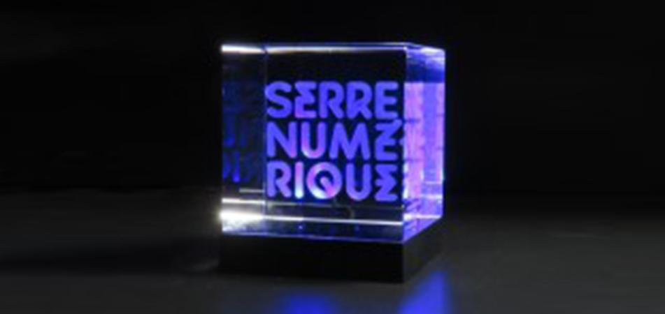 Création de logo société gravé sur verre pour la Serre Numérique